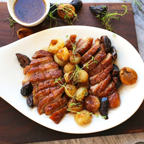 Duck with sherry honey and thyme