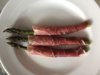 Grilled Asparagus w Proscuitto