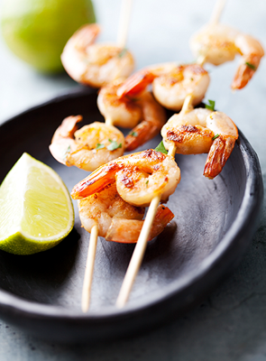 Grilled Shrimp with lime and basil