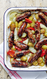 Roasted Italian Sausage Peppers and Onions