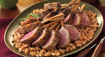 grilled rack of lamb with cannellini beans